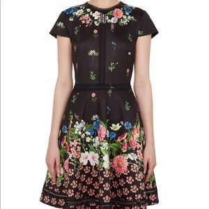 Ted baker black daissie floral skater dress